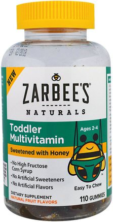 Toddler Multivitamin, Sweetened with Honey, 110 Gummies by Zarbees-Barns Hälsa, Barngummier, Multivitaminer, Barn Multivitaminer