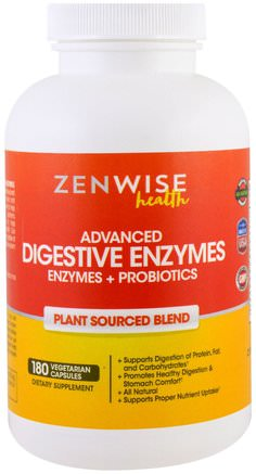 Advanced Digestive Enzymes with Enzymes and Probiotics, Plant Sourced Blend, 180 Veggie Caps by Zenwise Health-Kosttillskott, Matsmältningsenzymer