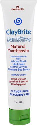ClayBrite, Sensitive Natural Toothpaste, 4 oz (120 g) by Zion Health-Barns Hälsa, Barnomsorg, Muntlig Tandvård