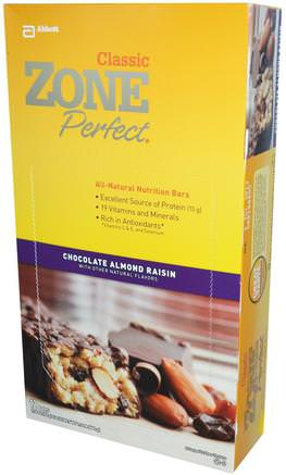 Classic, All-Natural Nutrition Bars, Chocolate Almond Raisin, 12 Bars, 1.76 oz (50 g) Each by ZonePerfect-Kosttillskott, Näringsrika Barer