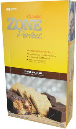 Classic, All-Natural Nutrition Bars, Fudge Graham, 12 Bars, 1.76 oz (50 g) Each by ZonePerfect-Sport, Protein Barer, Näringsrika Barer