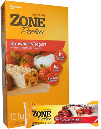 Nutrition Bars, Strawberry Yogurt, 12 Bars, 1.76 oz (50 g) Each by ZonePerfect-Sport, Protein Barer, Näringsrika Barer