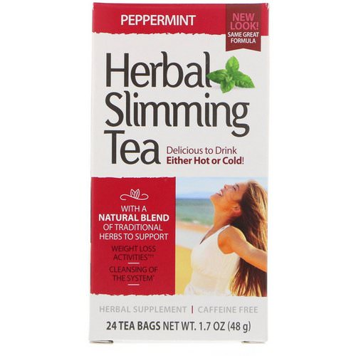 21st Century, Herbal Slimming Tea, Peppermint, Caffeine Free, 24 Tea Bags, 1.7 oz (48 g) Review