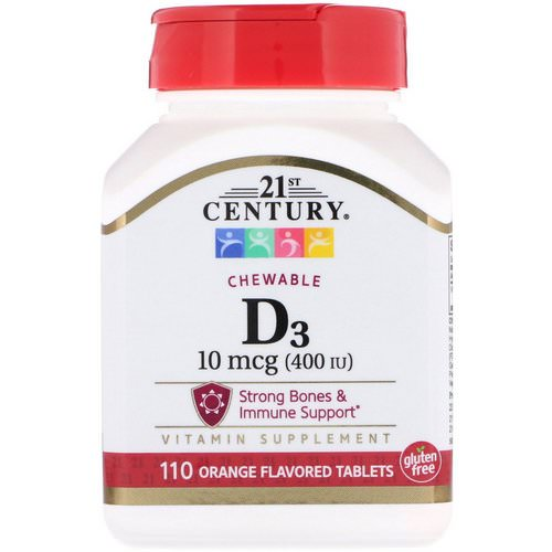 21st Century, Vitamin D3, Chewable, Orange Flavored, 400 IU, 110 Tablets Review