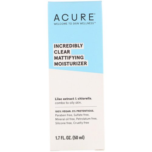 Acure, Incredibly Clear, Mattifying Moisturizer, 1.7 fl oz (50 ml) Review