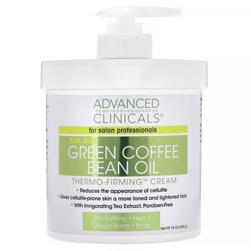 Advanced Clinicals, Green Coffee Bean Oil, Thermo-Firming Cream, 16 oz (454 g) Review
