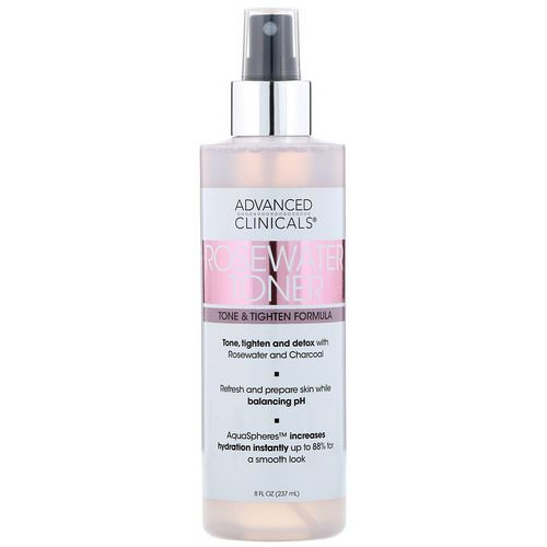Advanced Clinicals, Rosewater Toner, Tone & Tighten Formula, 8 fl oz (237 ml) Review