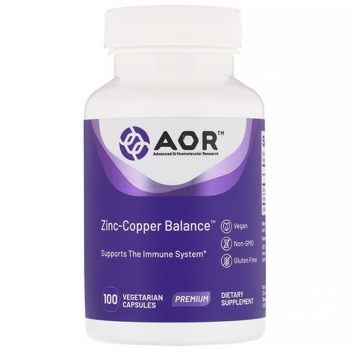 Advanced Orthomolecular Research AOR, Zinc-Copper Balance, 100 Vegetarian Capsules Review