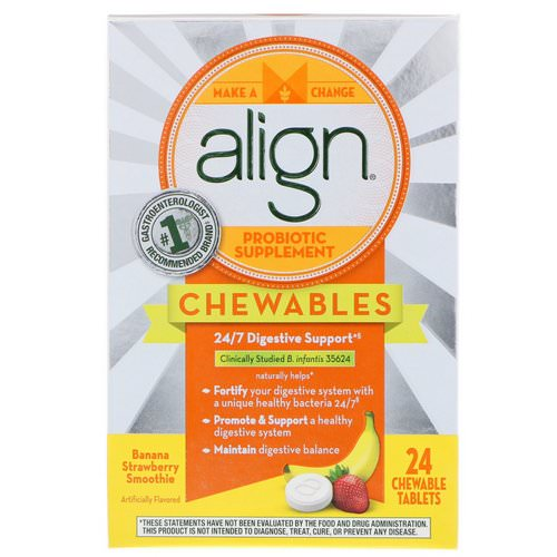 Align Probiotics, 24/7 Digestive Support, Probiotic Supplement, Chewables, Banana Strawberry Smoothie, 24 Chewable Tablets Review