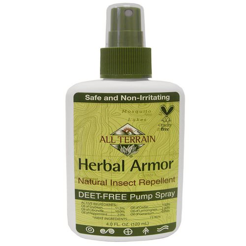 All Terrain, Herbal Armor, Natural Insect Repellent Deet-Free Pump Spray, 4 fl oz (120 ml) Review