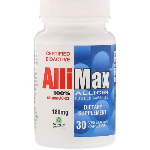 Allimax, 100% Allicin Powder Capsules, 180 mg, 30 Vegetarian Capsules Review