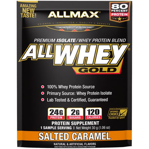 ALLMAX Nutrition, AllWhey Gold, 100% Whey Protein + Premium Whey Protein Isolate, Salted Caramel, 1.06 oz (30 g) Review