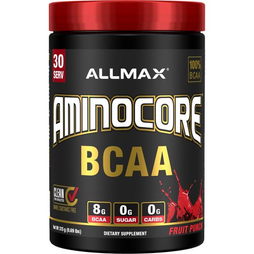 ALLMAX Nutrition, AMINOCORE, BCAA, 8G BCAA + 0 Sugar + 0 Carbs, Fruit Punch, 0.69 lbs (315 g) Review