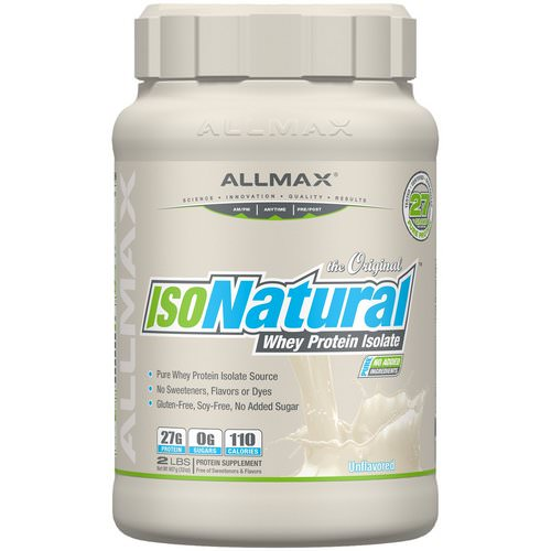 ALLMAX Nutrition, IsoNatural, Pure Whey Protein Isolate, The Original, Unflavored, 2 lbs (907 g) Review