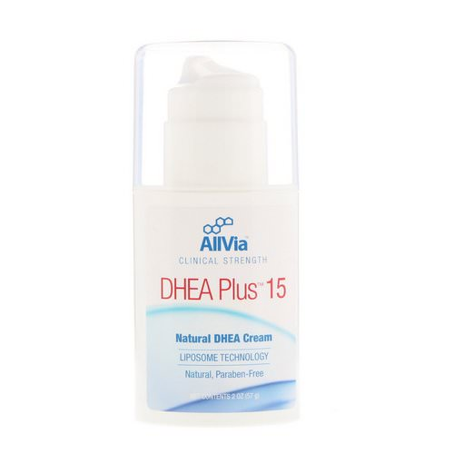 AllVia, DHEA Plus 15, Natural DHEA Cream, Unscented, 2 oz (57 g) Review