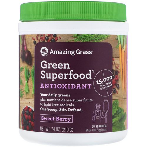 Amazing Grass, Green Superfood Antioxidant, Sweet Berry, 7.4 oz (210 g) Review