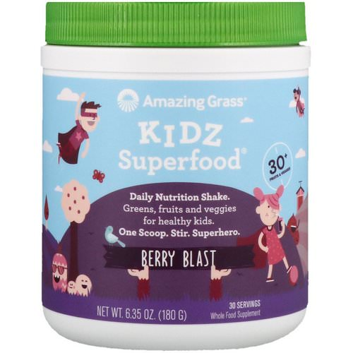 Amazing Grass, Kidz Superfood, Berry Blast, 6.35 oz (180 g) Review