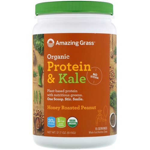 Amazing Grass, Organic Protein & Kale, Plant Based, Honey Roasted Peanut, 21.7 oz (615 g) Review