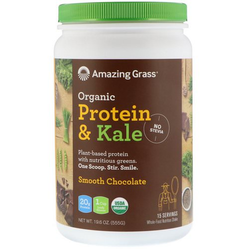 Amazing Grass, Organic Protein & Kale Powder, Plant Based, Smooth Chocolate, 1.2 lbs (555 g) Review
