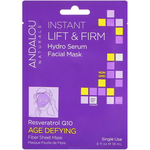 Andalou Naturals, Instant Lift & Firm, Hydro Serum Facial Mask, Age Defying, 1 Single Use Fiber Sheet Mask, .6 fl oz (18 ml) Review