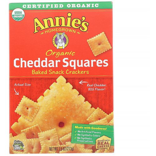 Annie's Homegrown, Organic Cheddar Squares, Baked Snack Crackers, 7.5 oz (213 g) Review