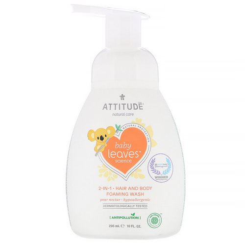 ATTITUDE, Baby Leaves Science, 2-In-1 Hair and Body Foaming Wash, Pear Nectar, 10 fl oz (295 ml) Review