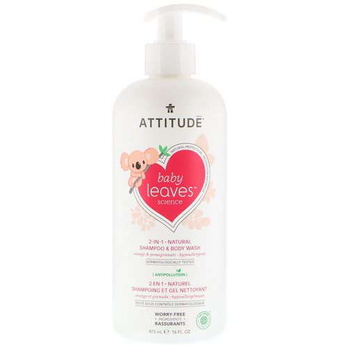 ATTITUDE, Baby Leaves Science, 2-In-1 Natural Shampoo & Body Wash, Orange & Pomegranate, 16 fl oz (473 ml) Review