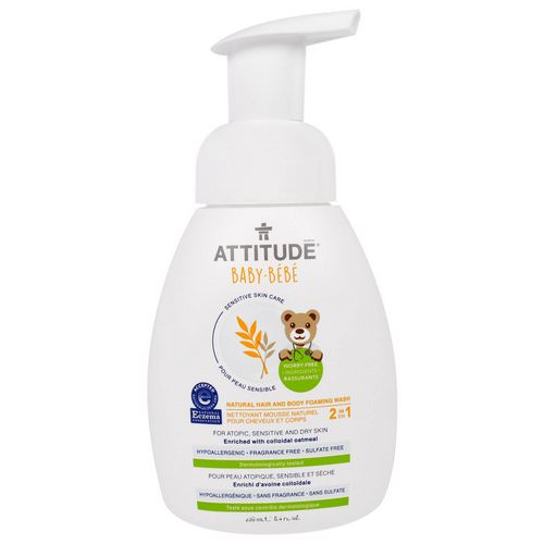 ATTITUDE, Sensitive Skin Care, Baby, 2-in-1, Natural Hair and Body Foaming Wash, Fragrance Free, 8.4 fl oz (250 ml) Review