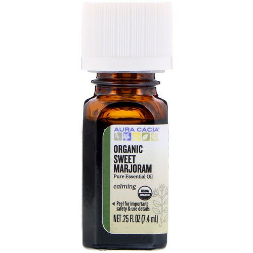 Aura Cacia, Pure Essential Oil, Organic Sweet Marjoram, 0.25 fl oz (7.4 ml) Review