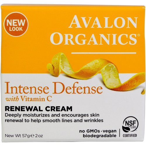 Avalon Organics, Intense Defense, With Vitamin C, Renewal Cream, 2 oz (57 g) Review