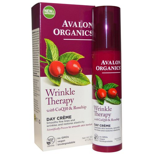 Avalon Organics, Wrinkle Therapy, With CoQ10 & Rosehip, Day Creme, 1.75 oz (50 g) Review
