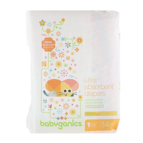 BabyGanics, Ultra Absorbent Diapers, Size 1, 8-14 lbs (4-6 kg), 34 Diapers Review