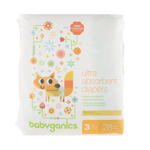 BabyGanics, Ultra Absorbent Diapers, Size 3, 16-28 lbs (7-13 kg), 28 Diapers Review