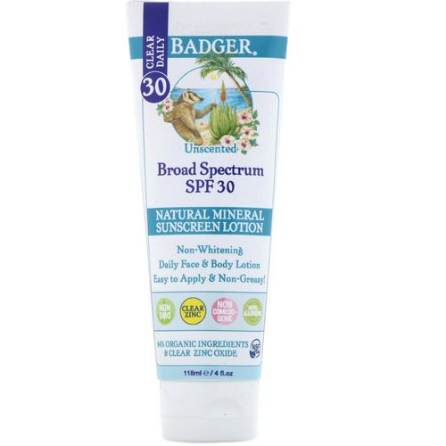 Badger Company, Clear Daily, Natural Mineral Sunscreen Lotion, Clear Zinc, SPF 30, Unscented, 4 fl oz (118 ml) Review