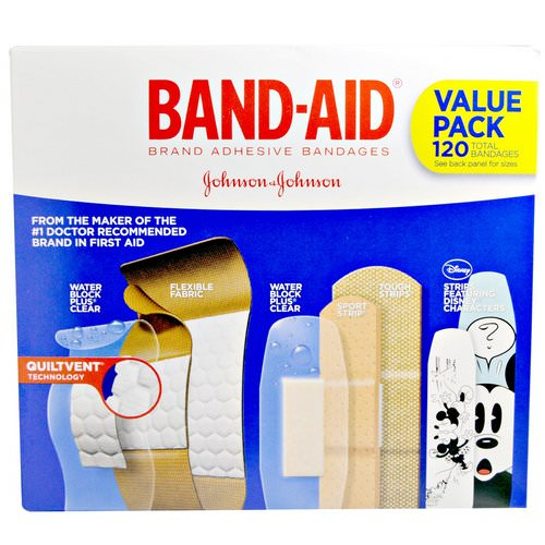 Band Aid, Adhesive Strips, Bandages, Value Pack, 5 Cartons, 120 Bandages Review