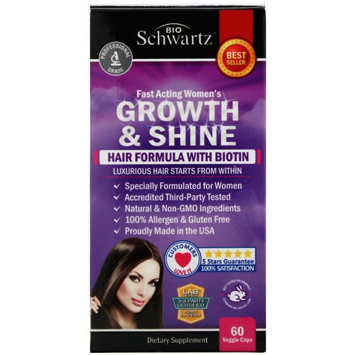 BioSchwartz, Fast Acting Women's Growth & Shine, Hair Formula with Biotin, 60 Veggie Caps Review