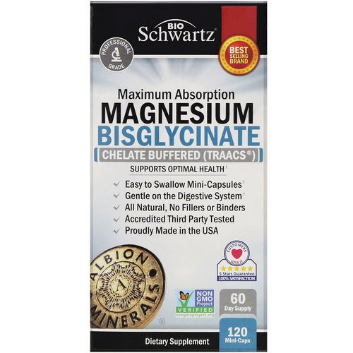 BioSchwartz, Maximum Absorption Magnesium Bisglycinate, 120 Mini-Caps Review