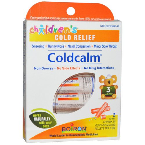 Boiron, Coldcalm, Children's Cold Relief, 2 Tubes, Approx 80 Pellets Per Tube Review
