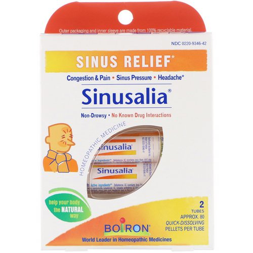 Boiron, Sinusalia, Sinus Relief, 2 Tubes, Approx. 80 Quick-Dissolving Pellets Each Review
