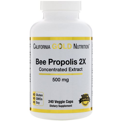 California Gold Nutrition, Bee Propolis 2X, Concentrated Extract, 500 mg, 240 Veggie Caps Review