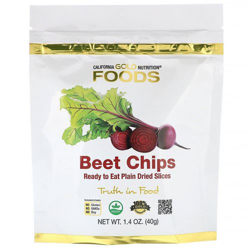 California Gold Nutrition, Beet Chips, Ready to Eat Plain Dried Slices, 1.4 oz (40g) Review
