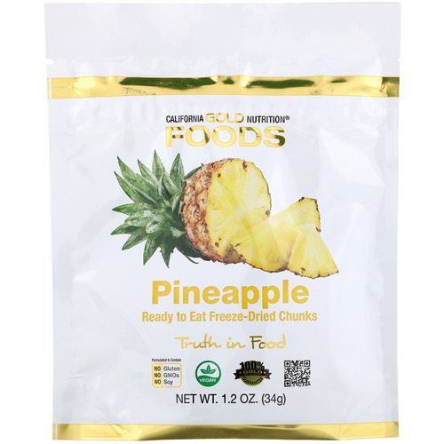 California Gold Nutrition, Freeze Dried Pineapple, Ready to Eat Whole Freeze-Dried Chunks, 1 oz (34 g) Review