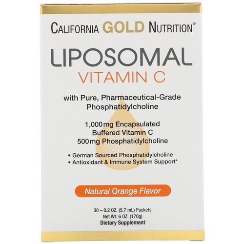 California Gold Nutrition, Liposomal Vitamin C, Natural Orange Flavor, 1000 mg, 30 Packets, 0.2 oz (5.7 ml) Each Review