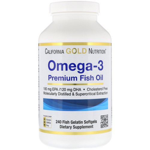 California Gold Nutrition, Omega-3, Premium Fish Oil, 240 Fish Gelatin Softgels Review