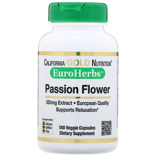 California Gold Nutrition, Passion Flower, EuroHerbs, 250 mg, 180 Veggie Capsules Review