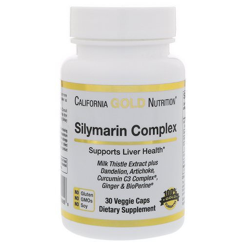 California Gold Nutrition, Silymarin Complex, Liver Health, Milk Thistle, Curcumin, Artichoke, Dandelion, Ginger, Black Pepper, 30 Veggie Capsules Review