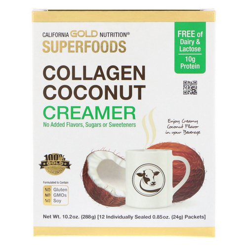 California Gold Nutrition, Superfoods, Collagen Coconut Creamer, Unsweetened, 12 Packets 0.85 oz (24 g) Each Review