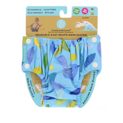 Charlie Banana, Reusable Easy Snaps Swim Diaper, X-Large, 1 Diaper Review