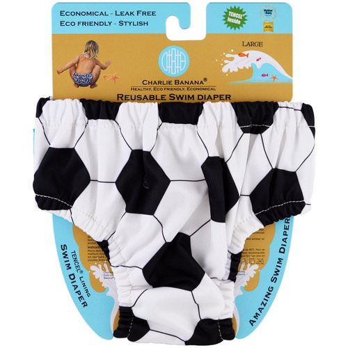 Charlie Banana, Reusable Swim Diaper, Soccer, Large, 1 Diaper Review
