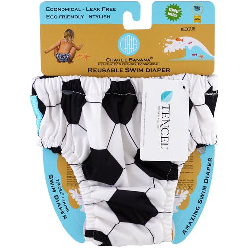 Charlie Banana, Reusable Swim Diaper, Soccer, Medium, 1 Diaper Review